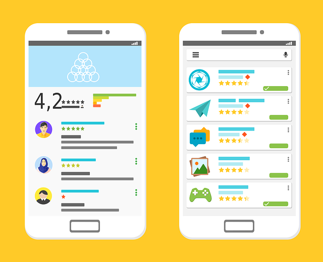 Illustration of mobile phones with Google Play store images.